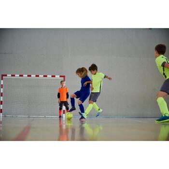 Zaalvoetbalschoenen voor kinderen Agility 500 grijs/geel met velcro