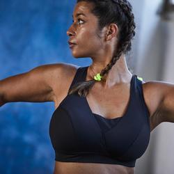 Brassière bonnets profonds cardio fitness femme noire 900