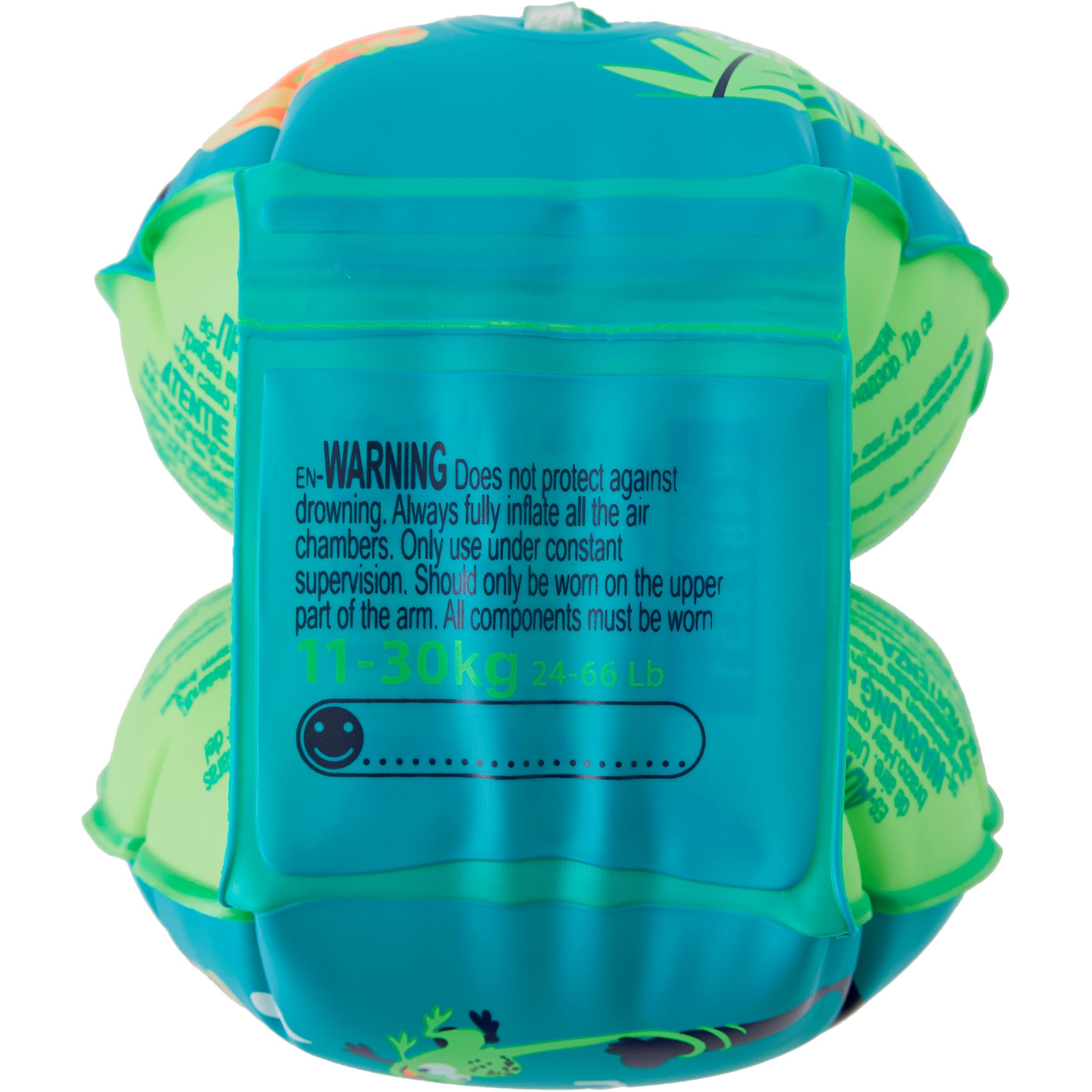 Children's Swimming Armbands - Monkey Print Green