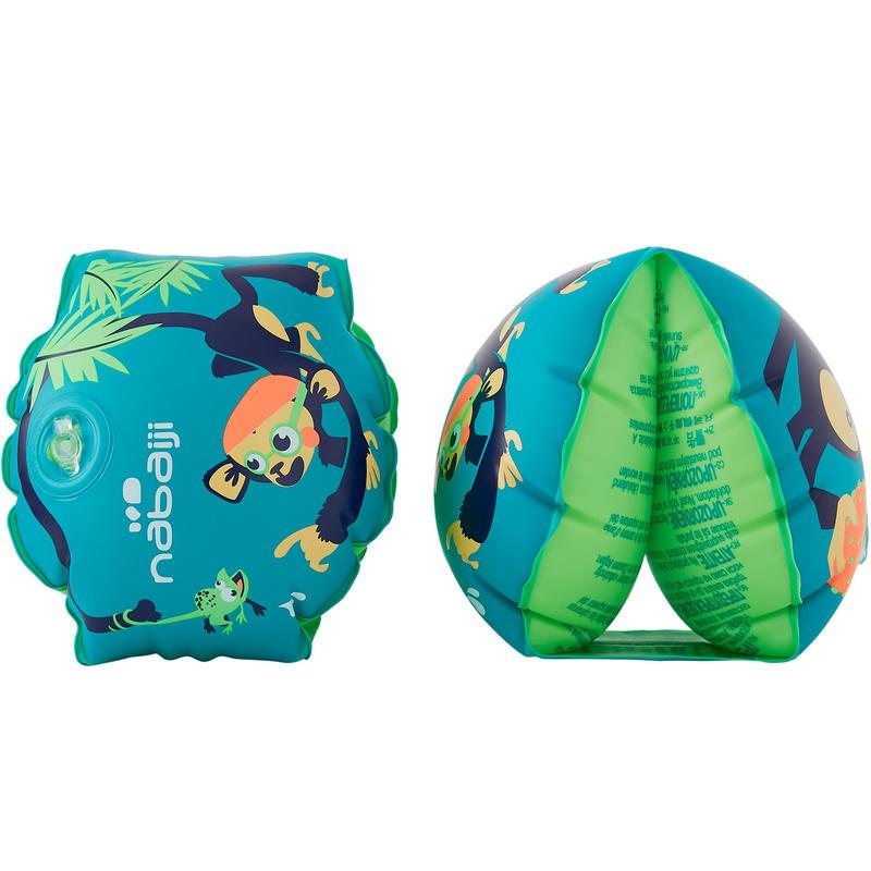 Flotadores de natación para niño verdes con estampado