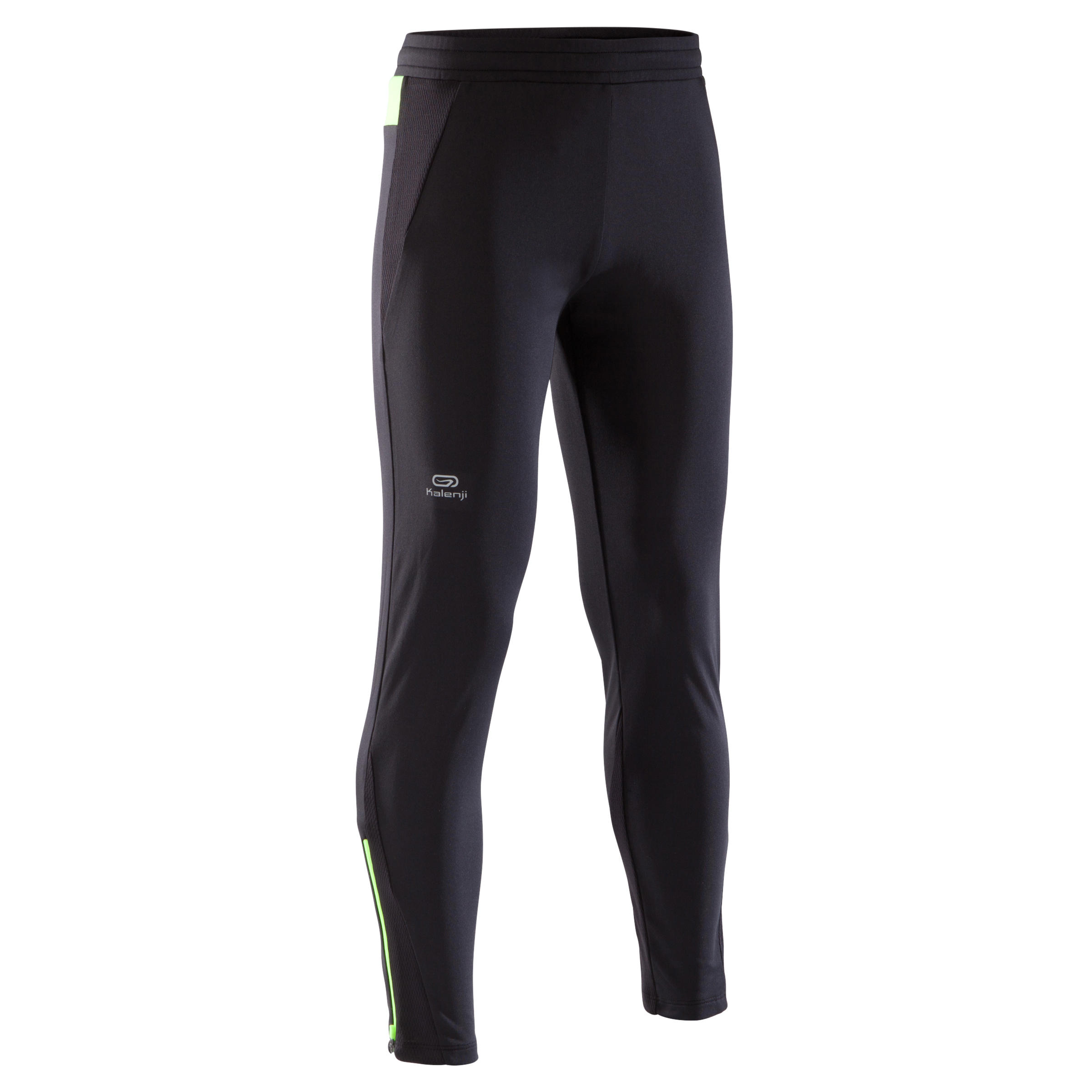 pantalón de atletismo júnior run warm negro fluo amarillo