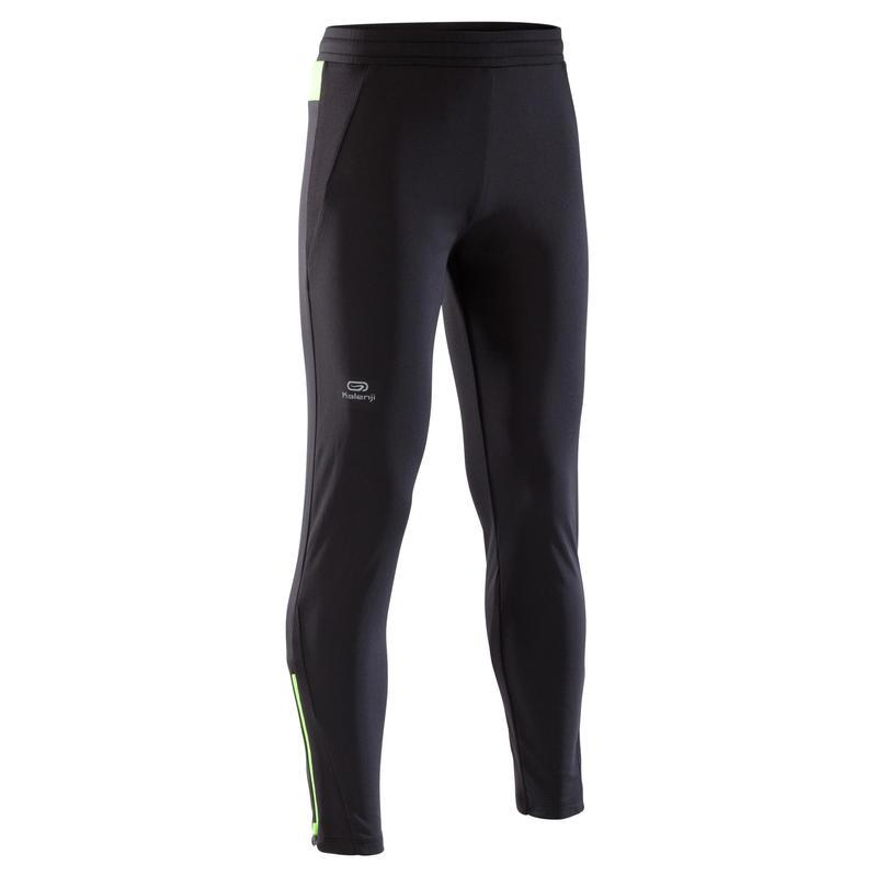 run warm children's athletics trousers - black/neon yellow