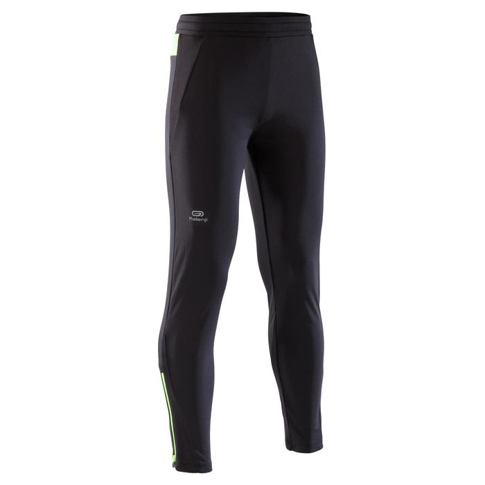 pantalón de atletismo júnior run warm negro fluo amarillo