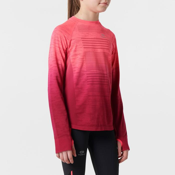 Camiseta de manga larga atletismo júnior kiprun care rosa fluorescente