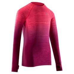 青少年親膚長袖跑步T恤 Kiprun - 螢光粉