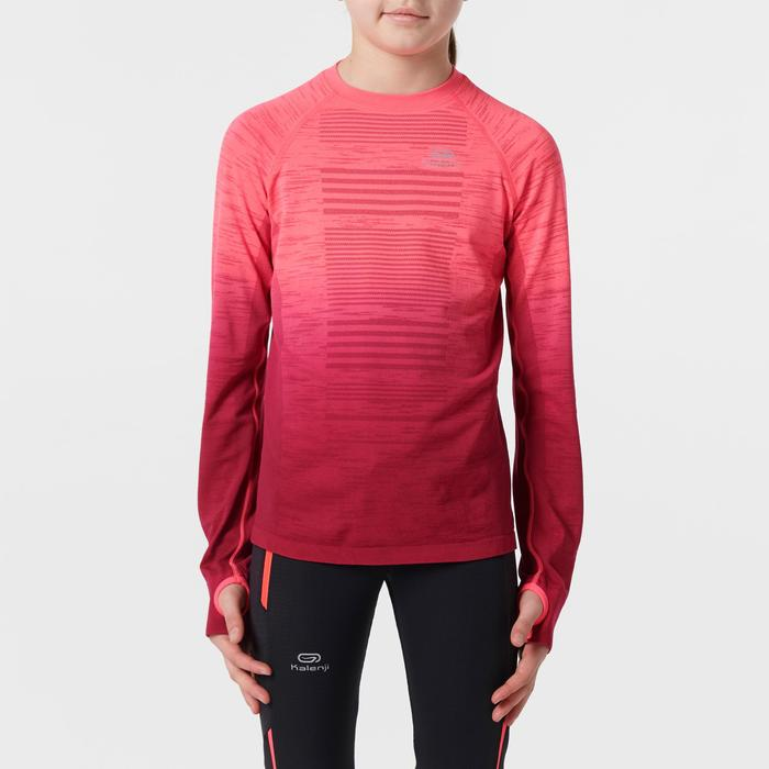 Camiseta de manga larga atletismo júnior kiprun care rosa fluorescente