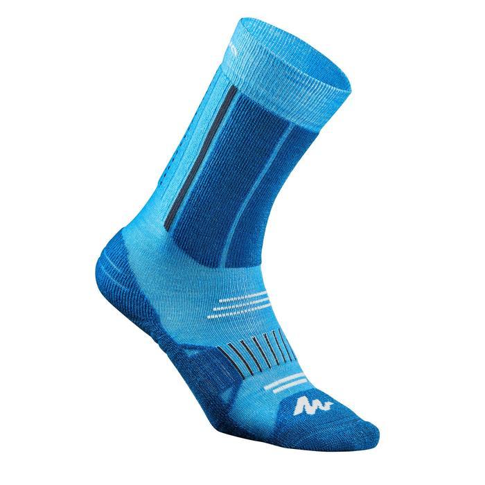 Chaussettes de randonnée neige junior SH520 x-warm mid bleues/ grises X 2 paires