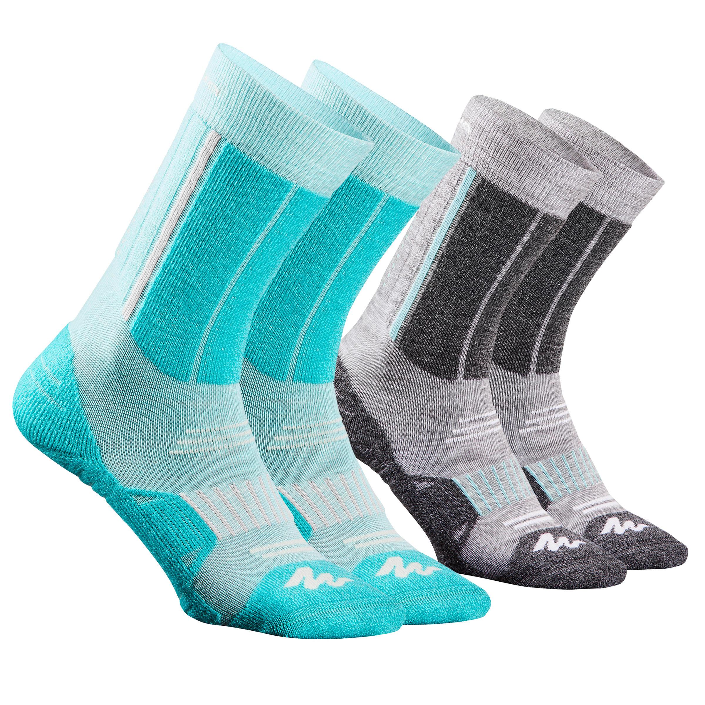 Chaussettes de randonnée neige junior SH520 x-warm mi-hauteur ice /grises.