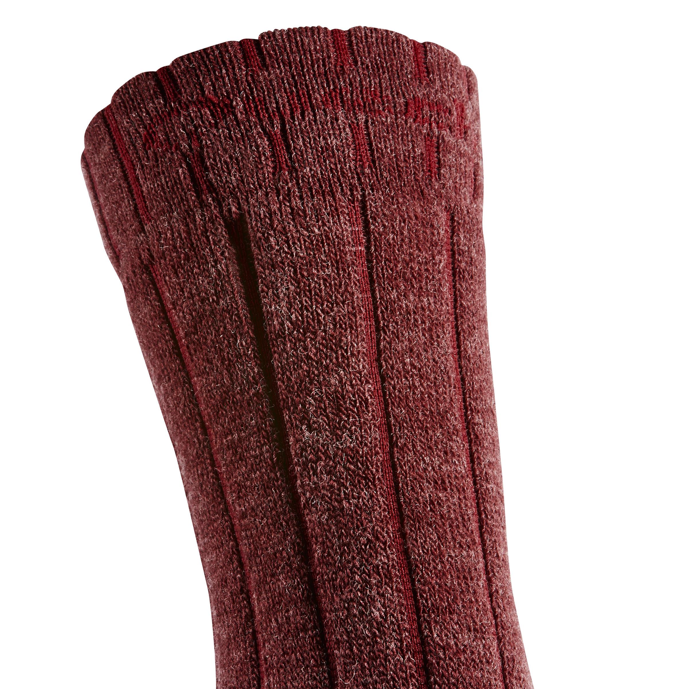 Chaussettes de randonnée neige adulte SH100 chaudes mi-hauteur bordeaux.