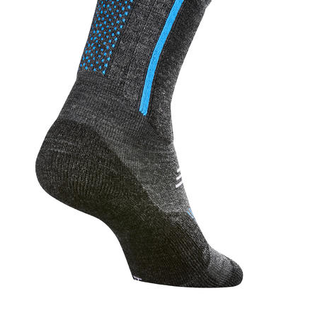 Junior Snow Hiking Socks SH520 X-Warm Mid x 2 Pairs - Blue/Grey