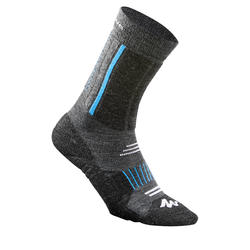 Chaussettes de randonnée neige junior SH520 x-warm mi-hauteur bleues/ grises.
