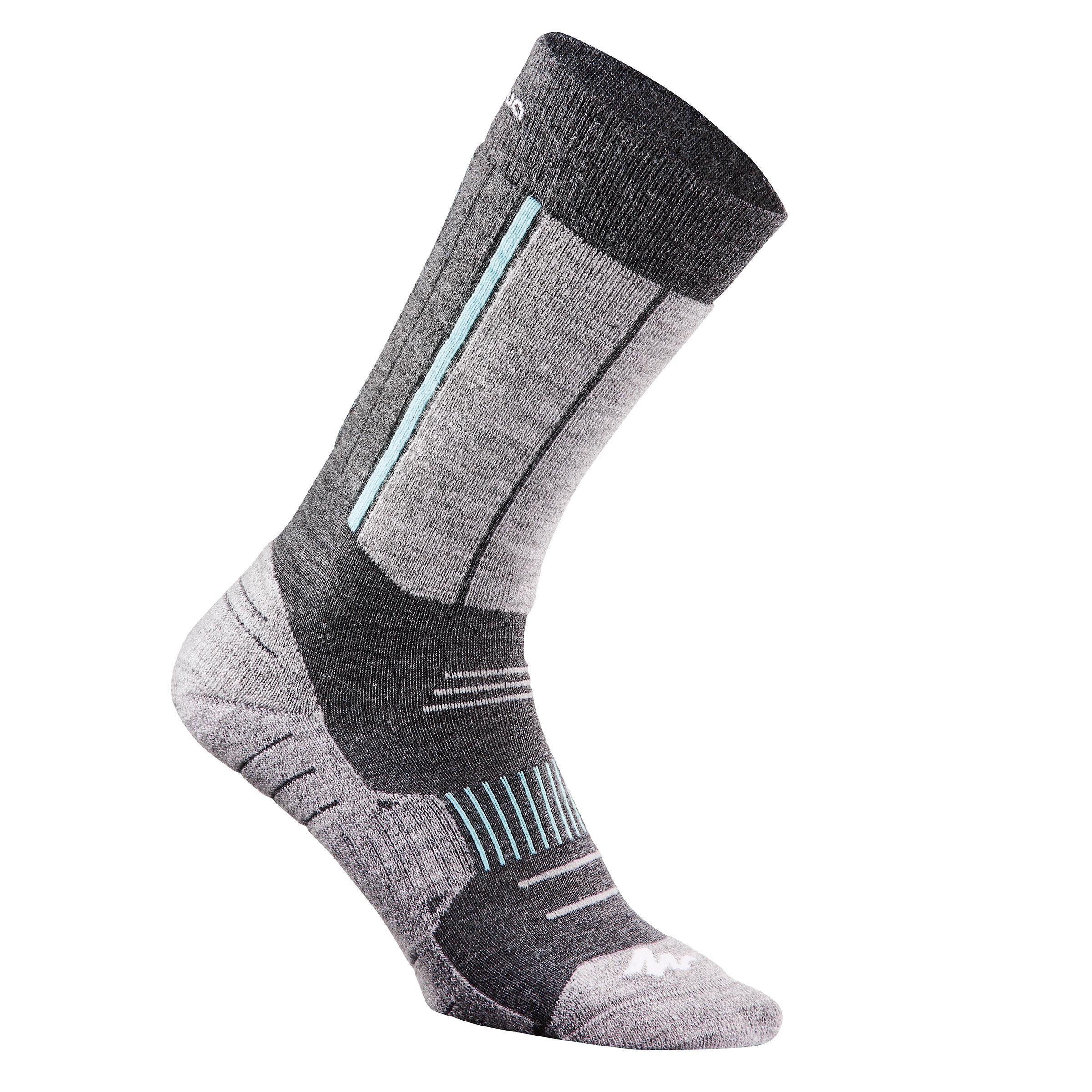 Chaussettes de randonnée neige adulte SH520 x-warm mi-hauteur grises ice