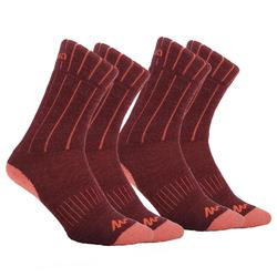 SH100 Warm Mid Adult Snow Hiking Socks - Burgundy.