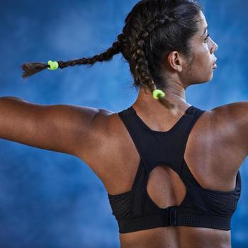 Elástico para el pelo fitness cardio-training para mujer negro azul y verde