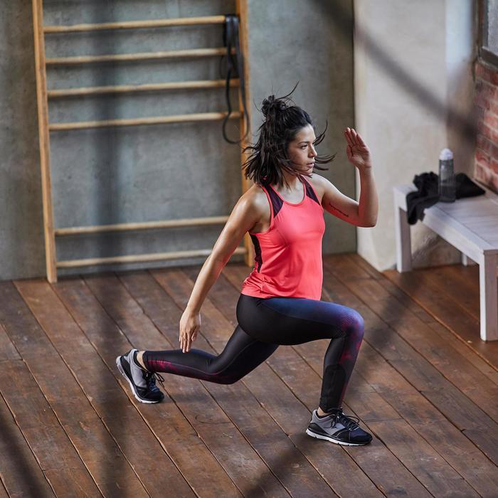 Legging fitness cardio femme bleu marine et imprimés tropicaux roses 500 Domyos - 1357183