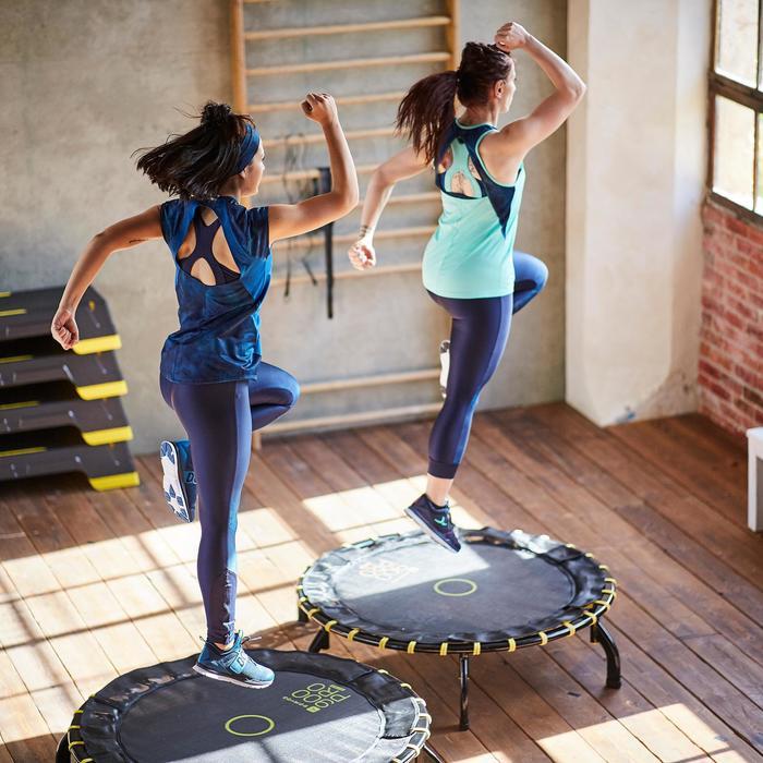 T-shirt fitness cardio femme bleu marine à imprimés roses 500 Domyos - 1357186