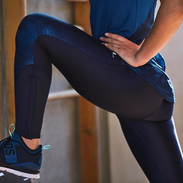 Legging fitness cardio femme bleu marine et imprimés tropicaux roses 500 Domyos - 1357192