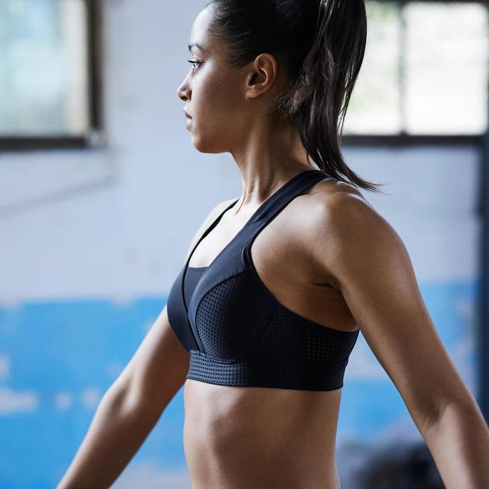 Brassière fitness cardio training femme noire 900