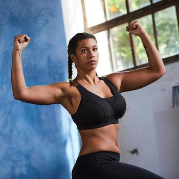 Brassière bonnets profonds fitness cardio-training femme noire 900 - 1357195