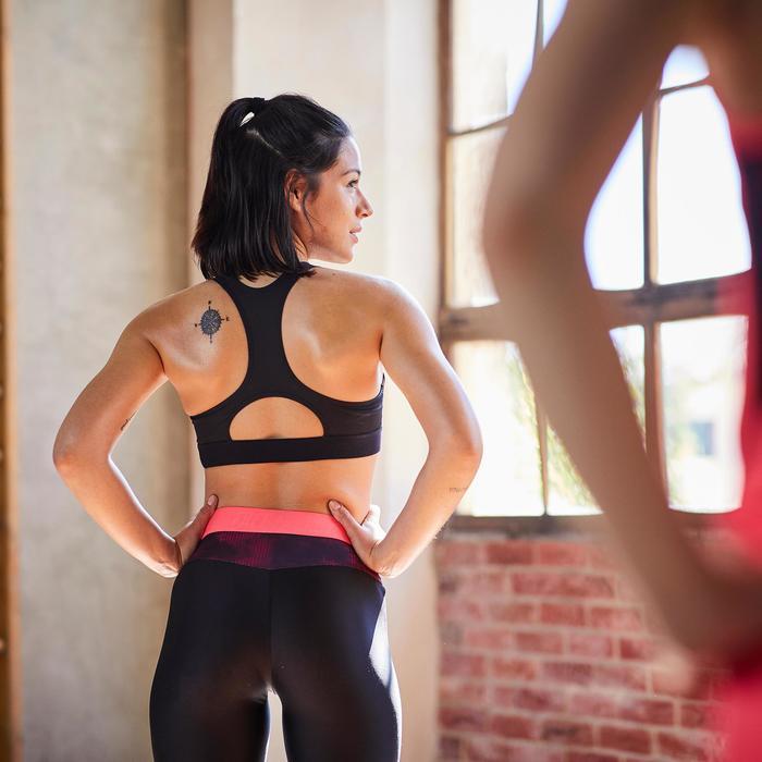 Brassière fitness cardio-training femme imprimée noire et rose 500