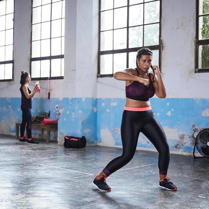 Leggings 7/8 fitness cardio-training mujer negro detalles rosa 500