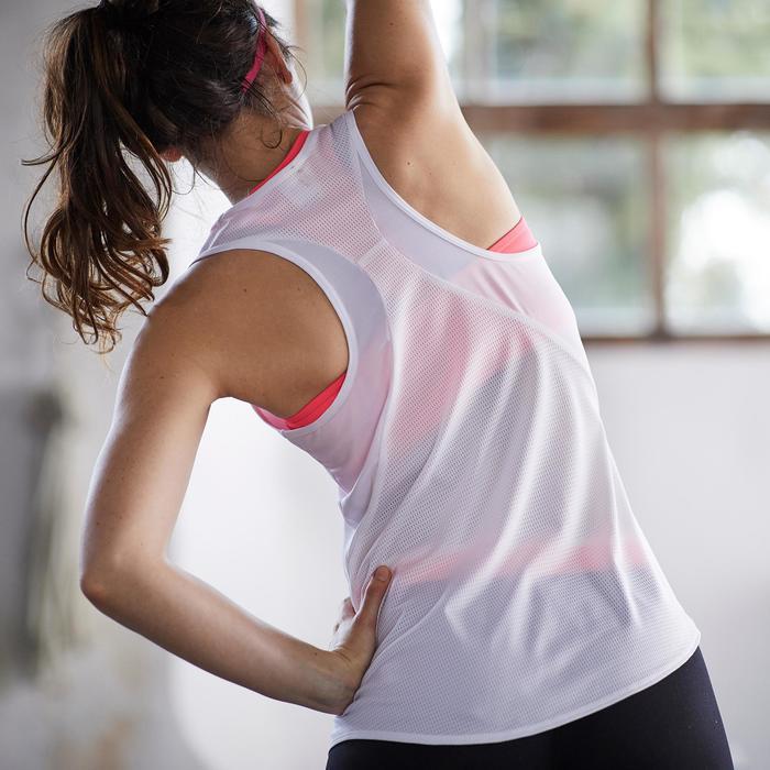 Débardeur fitness cardio-training femme blanc avec imprimés roses 120