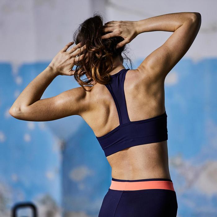 Legging fitness cardio femme bicolore noir et imprimés géométriques 100 Domyos - 1357204