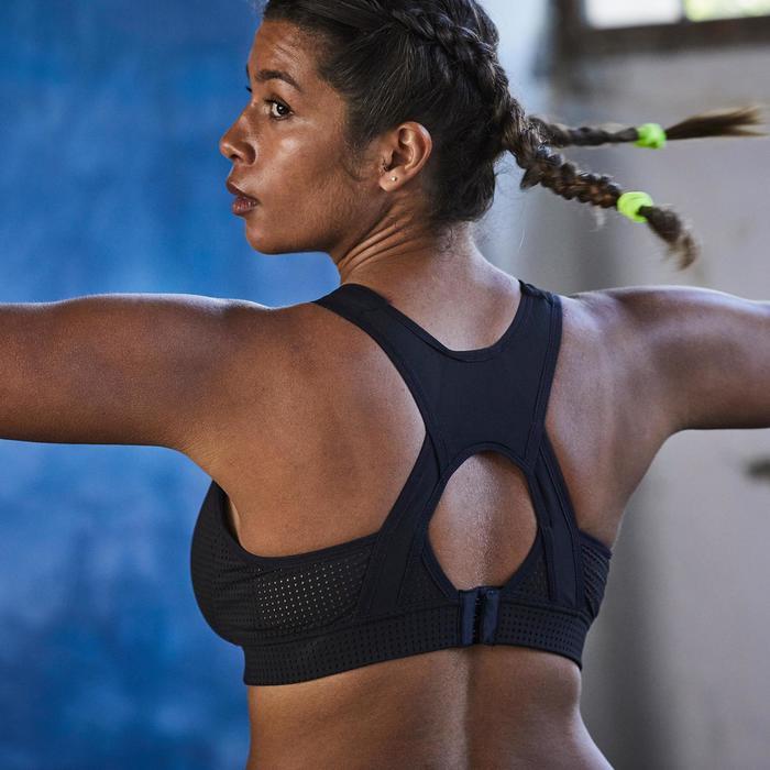 Sujetador-top copas grandes cardio fitness mujer negro 900