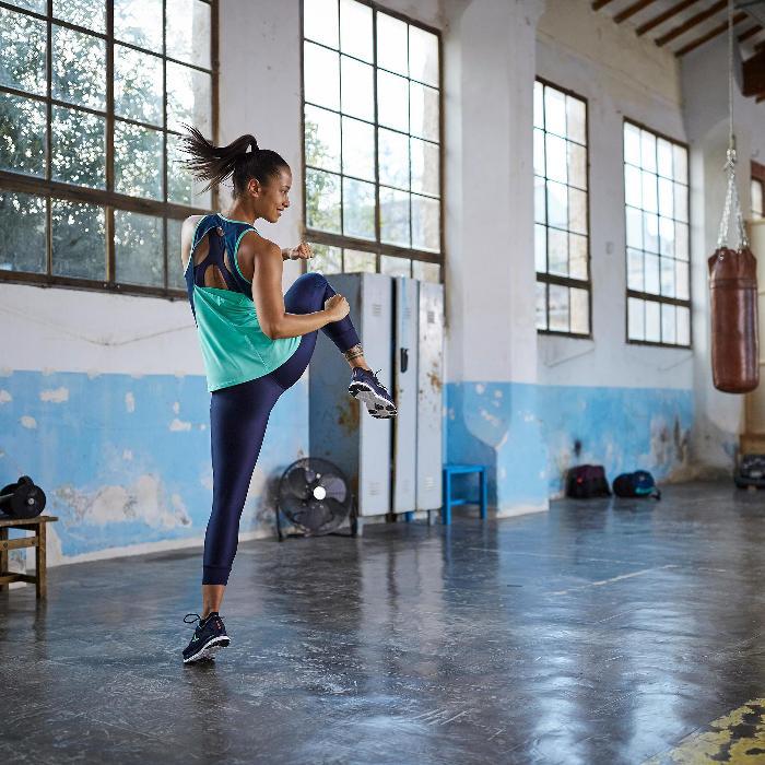 7/8-Leggings Cardio 500 Damen Fitness marineblau mit blauen Prints
