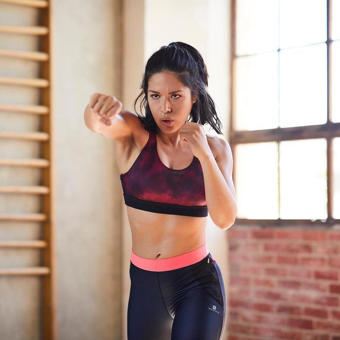 Cardiofitness sportbeha met rits voor dames zwart en roze print 500
