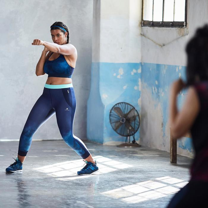 Chaussures fitness cardio-training  500 mid femme bleu et rose - 1357223