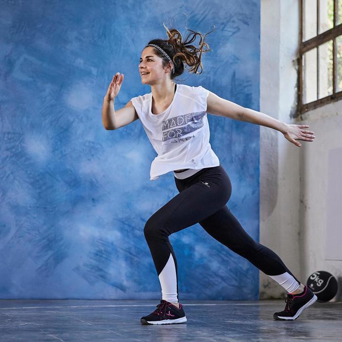 Leggings Cardio 120 Damen Fitness schwarz/weiß