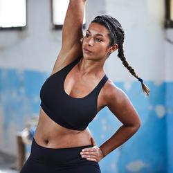 Brassière bonnets profonds fitness cardio-training femme noire 500
