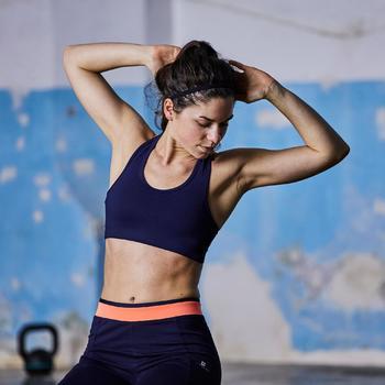 Legging fitness cardio femme bicolore noir et imprimés géométriques 100 Domyos - 1357230
