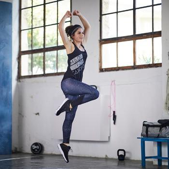Leggings fitness cardio-training mujer con estampado negro y blanco 120