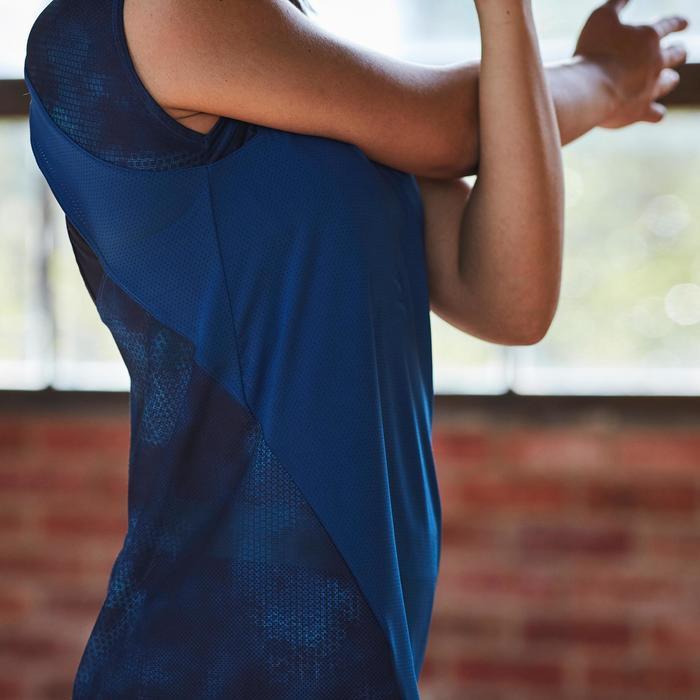 T-shirt fitness cardio femme bleu marine à imprimés roses 500 Domyos - 1357237