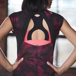 Sport-Bustier 500 Fitness-/Cardiotraining Damen Print rosa