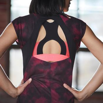 T-shirt fitness cardio femme bleu marine à imprimés roses 500 Domyos - 1357238