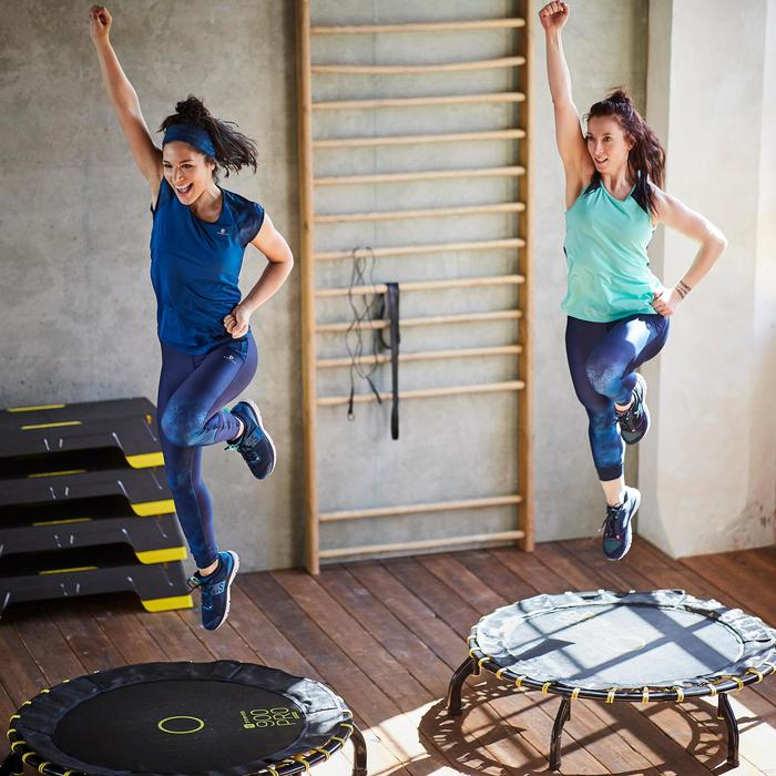 T-shirt fitness cardio femme bleu marine à imprimés roses 500 Domyos - 1357239