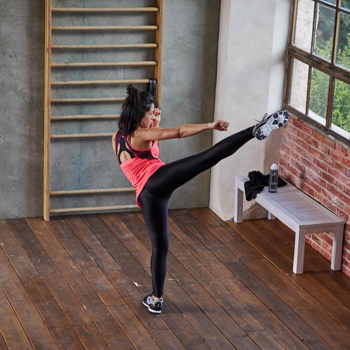 Legging fitness cardio femme bleu marine et imprimés tropicaux roses 500 Domyos - 1357243