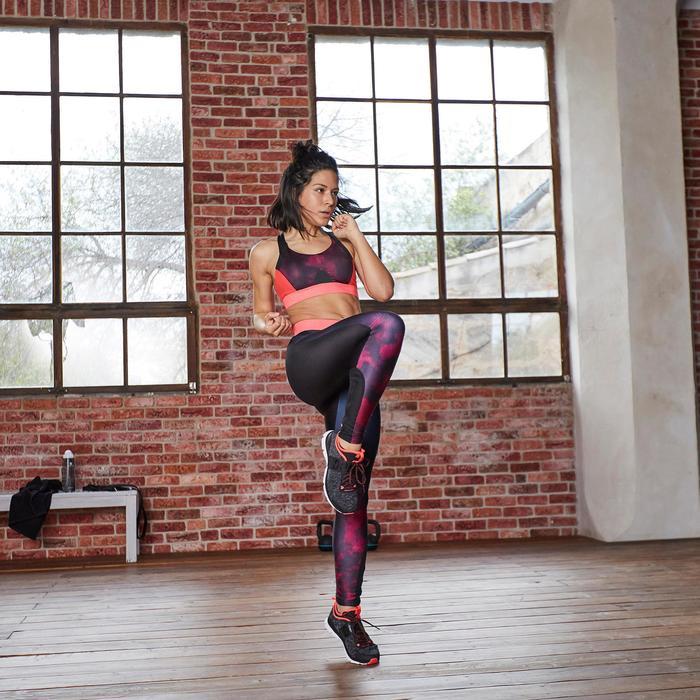 Legging fitness cardio femme bleu marine et imprimés tropicaux roses 500 Domyos - 1357245