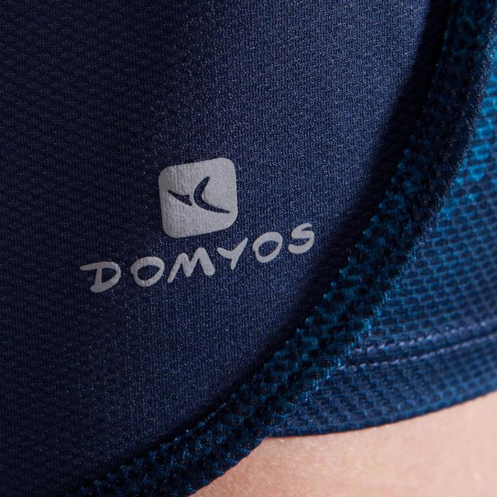 Short 2 en 1 fitness cardio femme bleu marine et imprimés roses 520 Domyos - 1357266