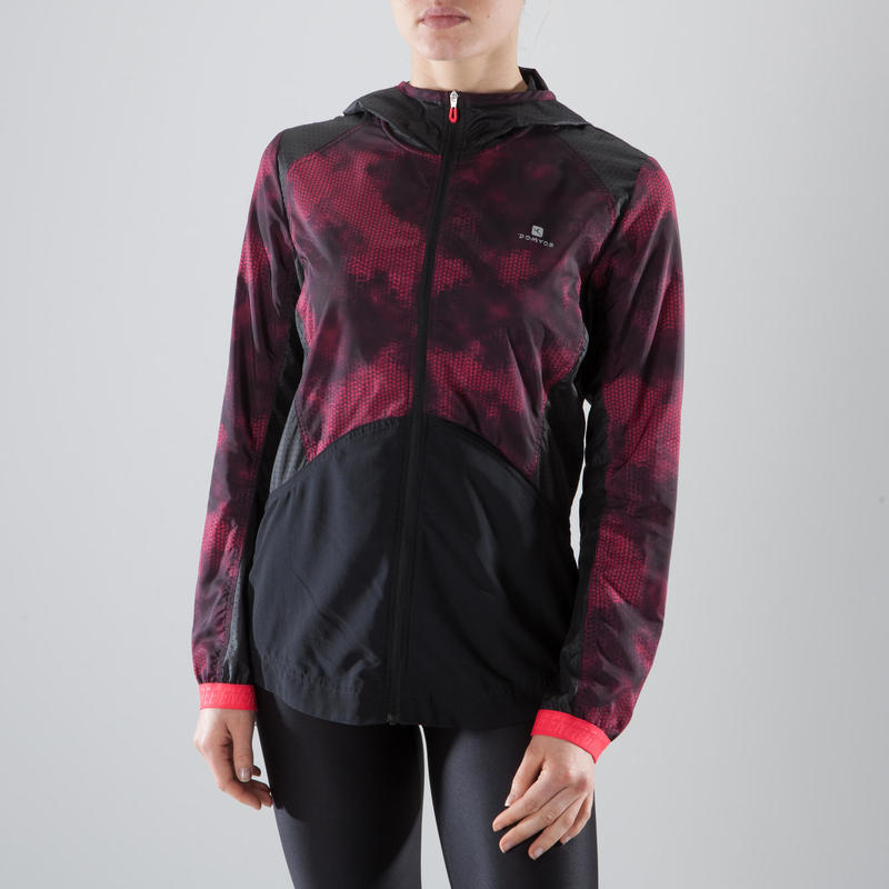 520 Women's Fitness Cardio Training Hooded Jacket - Black/Print