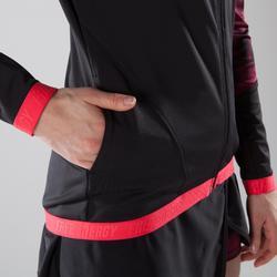 Veste fitness cardio-training femme noire avec imprimés roses 500