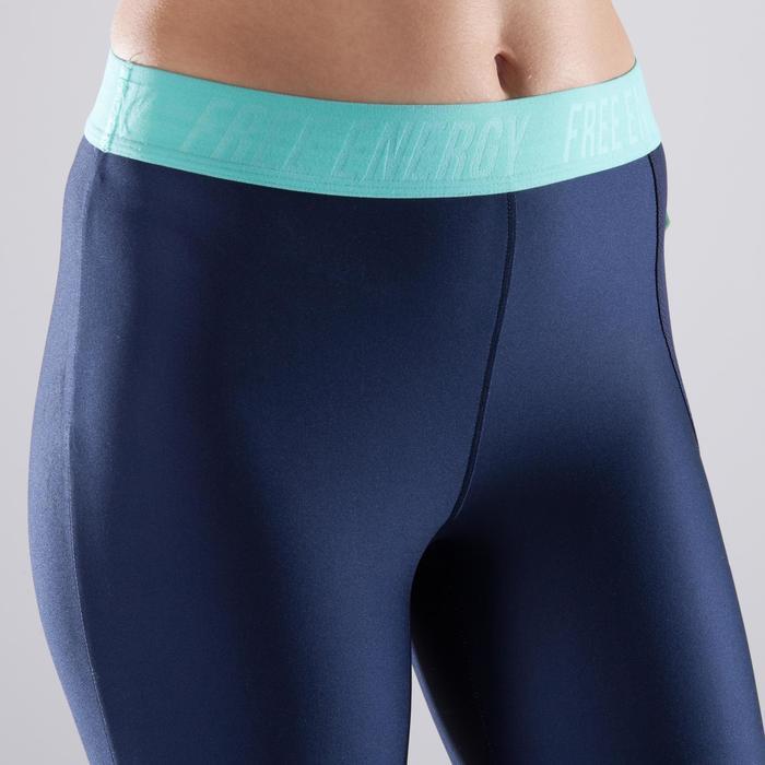 Leggings 7/8 fitness cardio-training mujer azul marino con estampados azules 500
