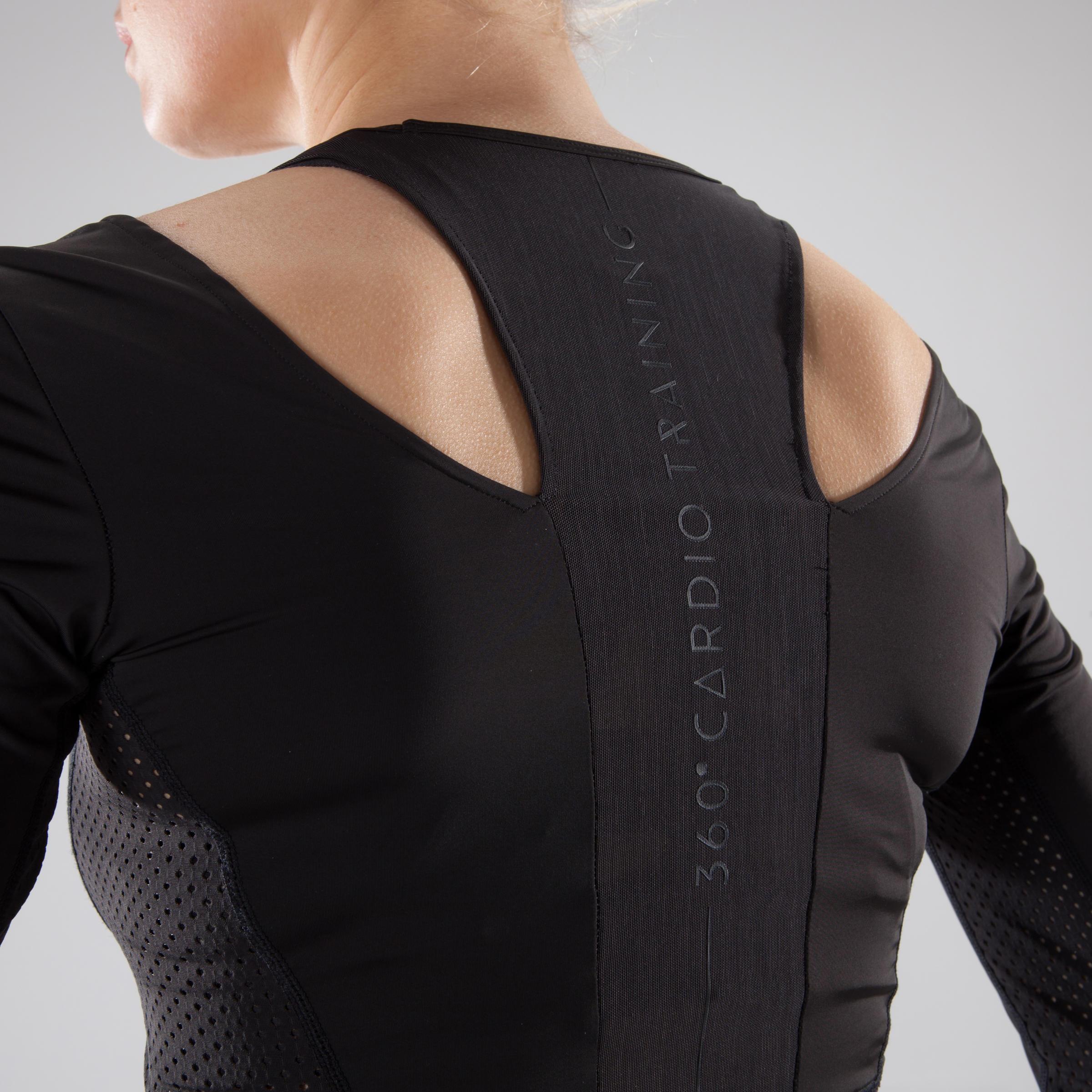 900 Women's Cardio Fitness Crop Top - Black