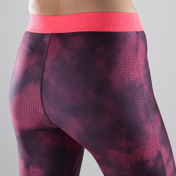 Legging 7/8 fitness cardio femme bleu marine détails tropicaux 500 Domyos - 1357301