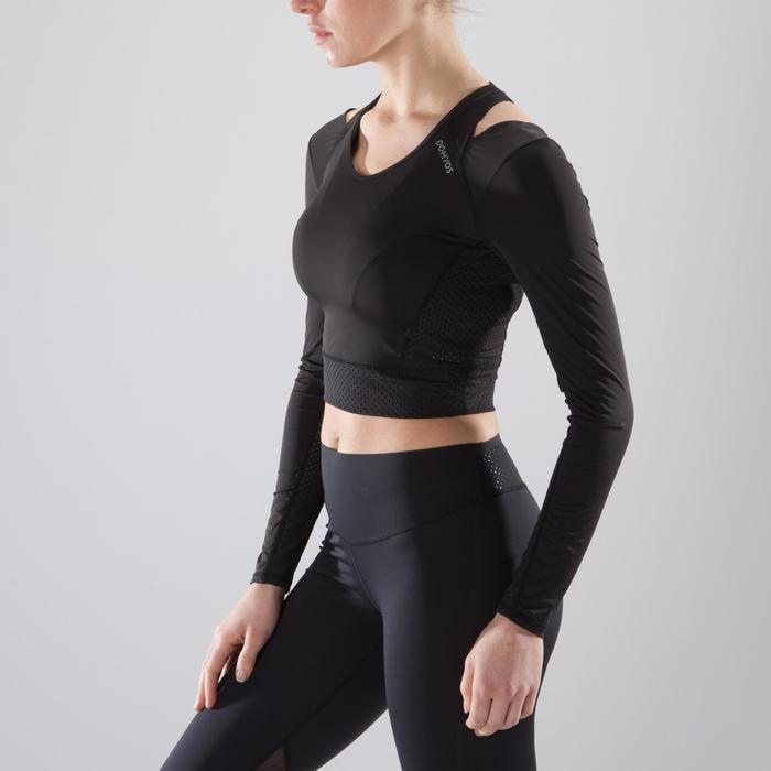 Cropped top fitness cardio-training femme noir 900 - 1357304