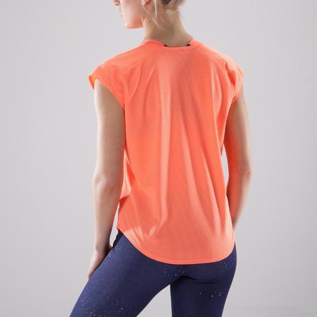 48f8c23e14c50 T-shirt loose fitness cardio-training femme corail nuancé 120. Previous.  Next