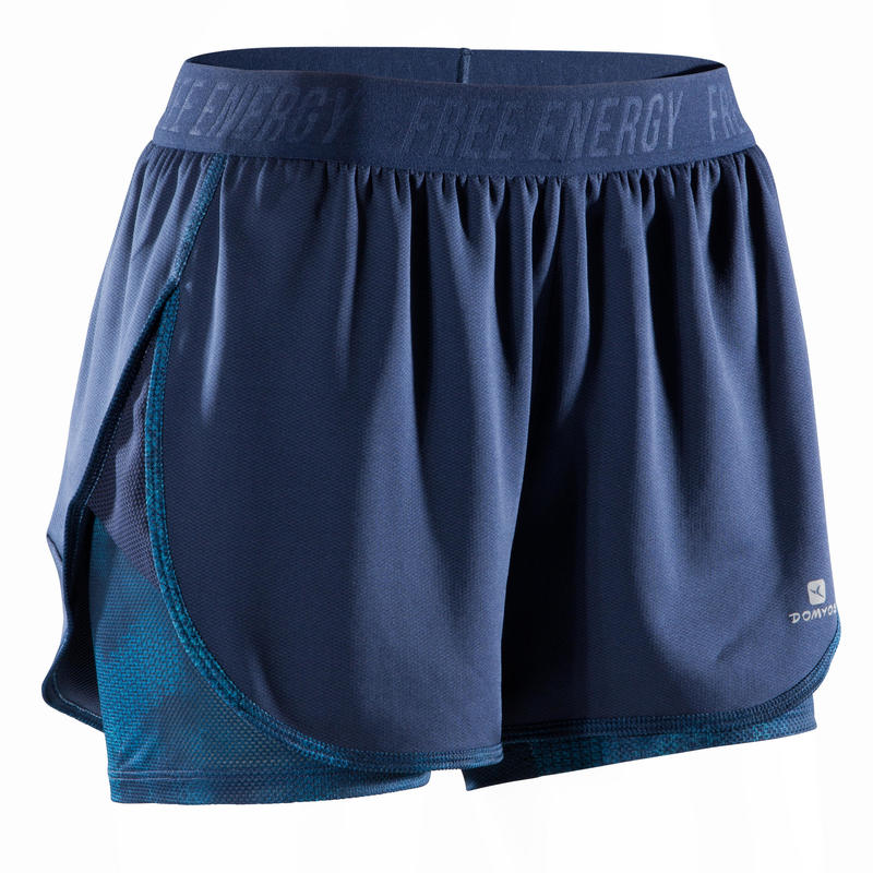 Short 2-en-1 d'entraînement cardio femme bleu marine 500